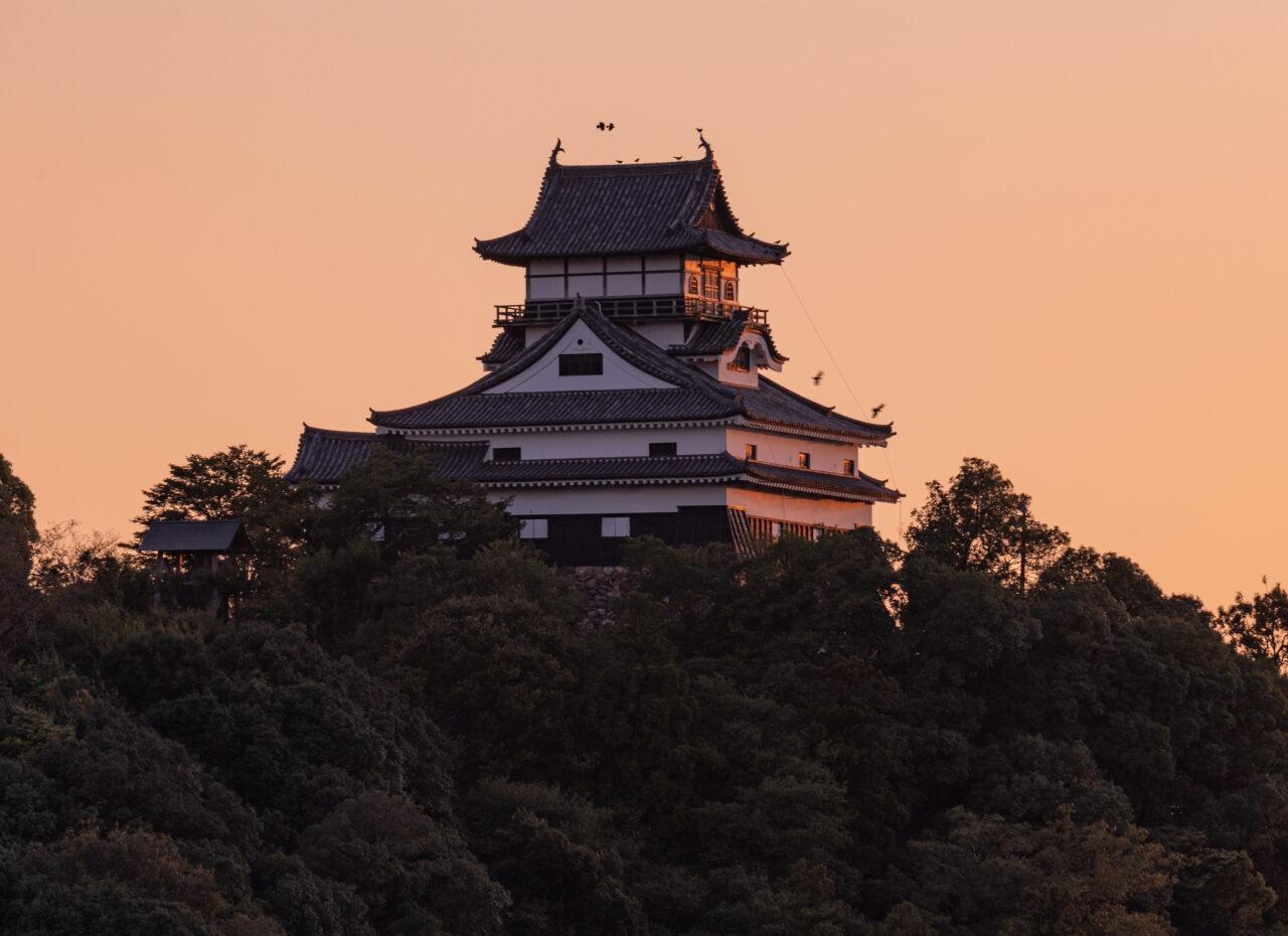 犬山城と夕焼け
