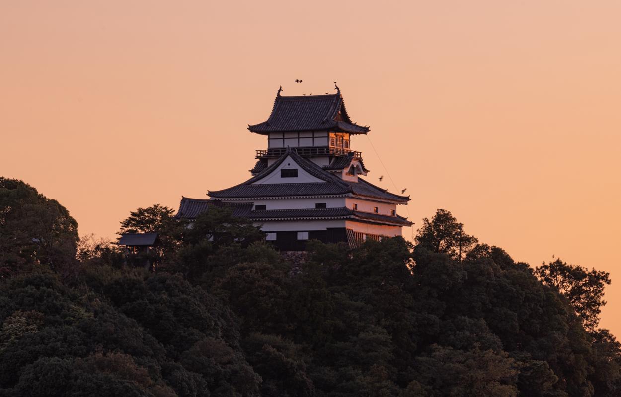 夕日と犬山城の素晴らしい風景